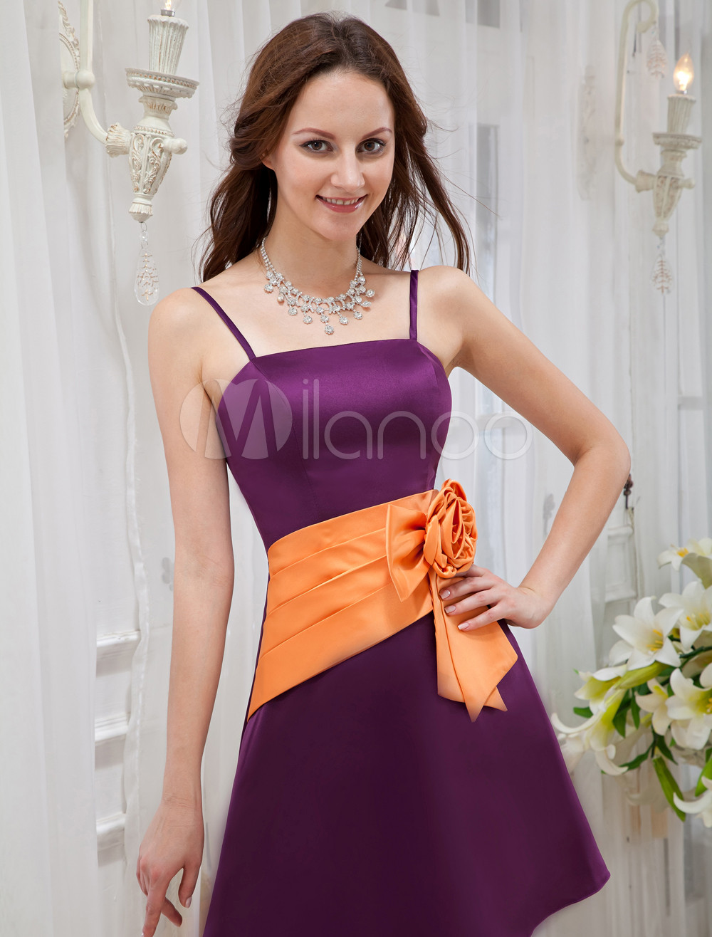 Purple Spaghetti Bow Pleated Satin Cocktail Dress