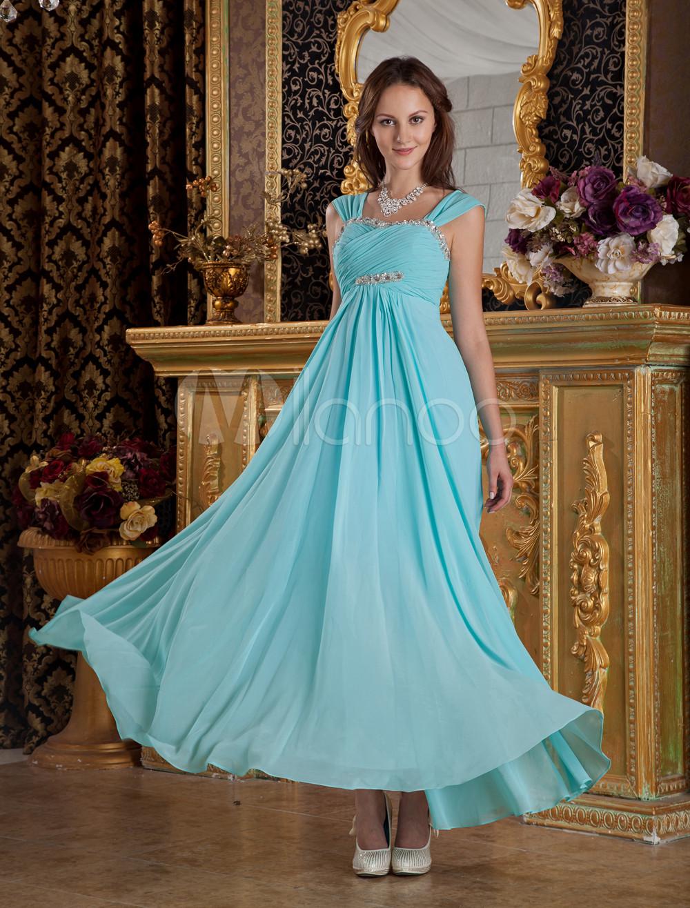 Sky Blue Beading A-line Sweetheart Silk-Like Prom Dress