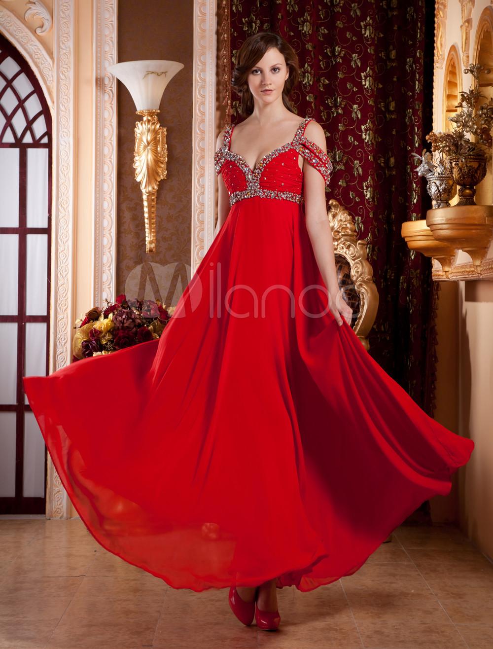 Red Off-The-Shoulder A-line Beading Silk-Like Evening Dress (Wedding Evening Dresses) photo