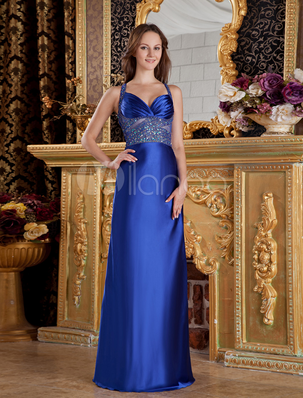 Royal Blue A-line Sequin Beading Satin Evening Dress (Wedding Evening Dresses) photo