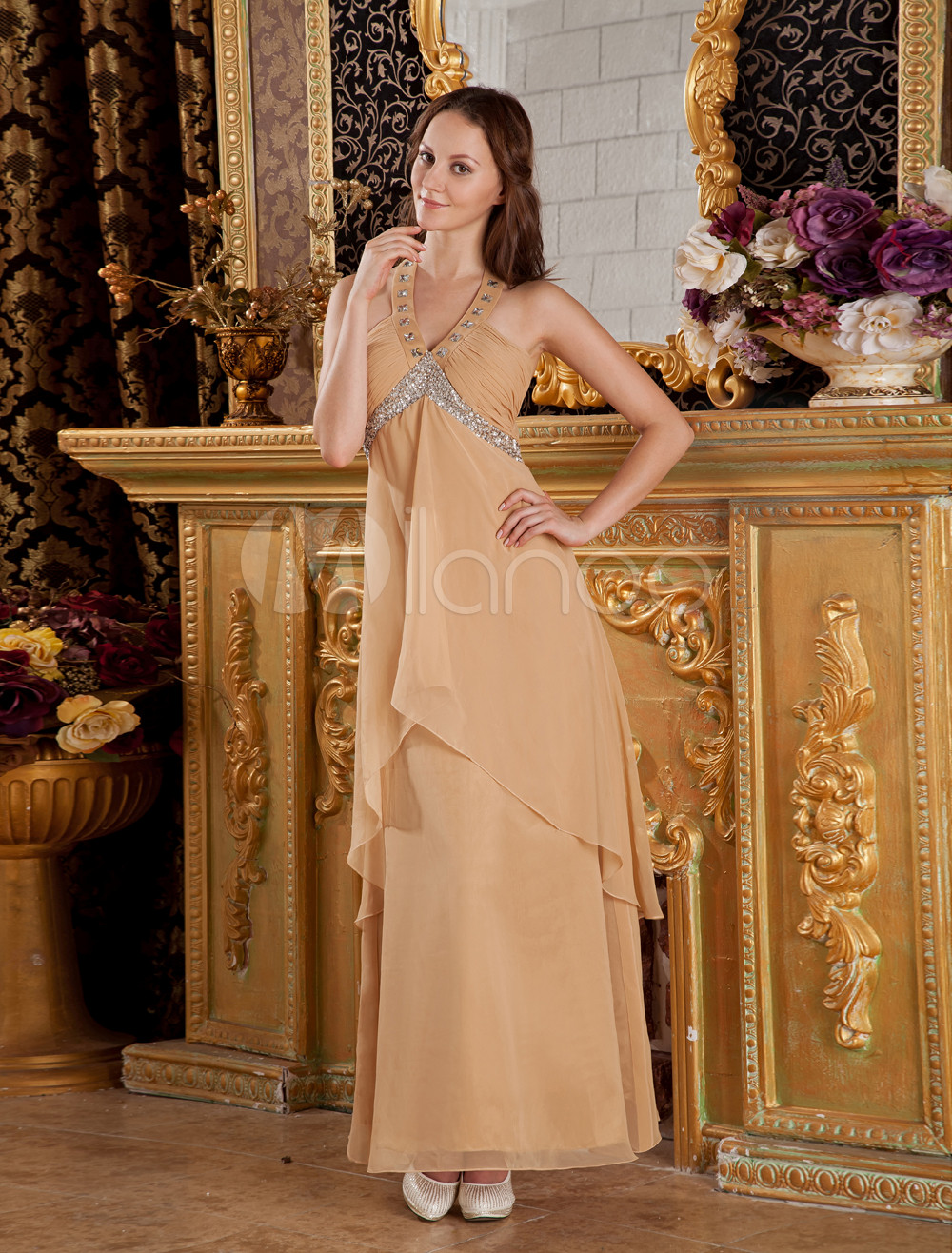 Gold Halter Beading Empire Silk-Like Prom Dress