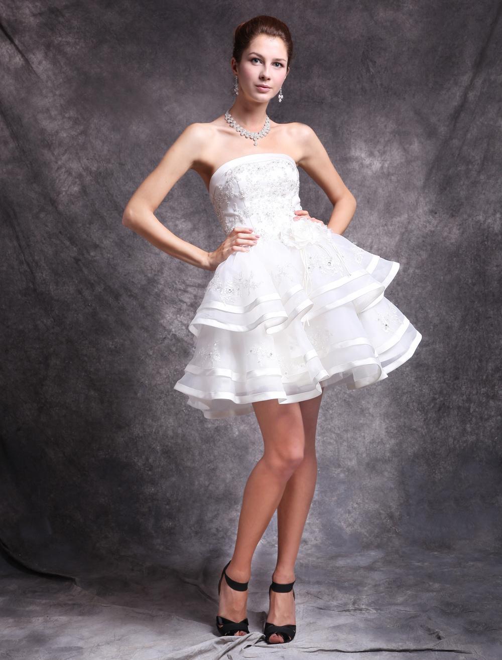 Ivory Tiered Knee Length Satin Bridal Short Wedding Dress (Cheap Wedding Dress) photo