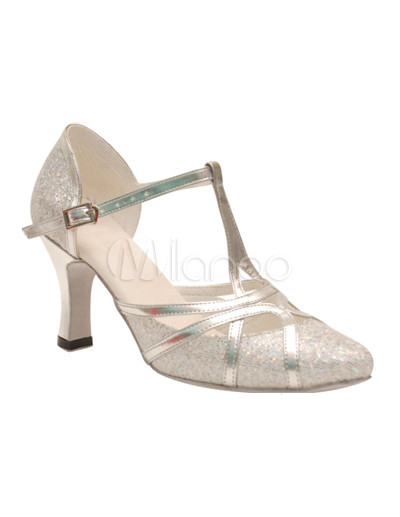 Silver T-Strap Pointed Toe Sequined Cloth Woman's Latin Shoes
