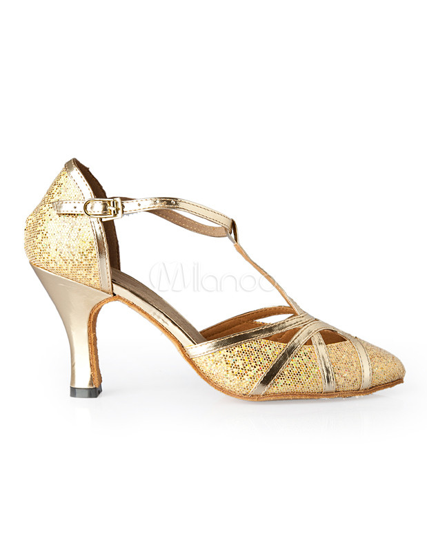 Gold T-Strap Pointed Toe Sequined Cloth Woman's Latin Shoes