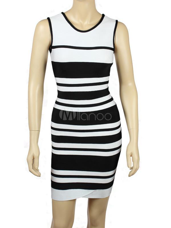 Black White Stripe Jewel Neck Rayon Woman's Party Dress