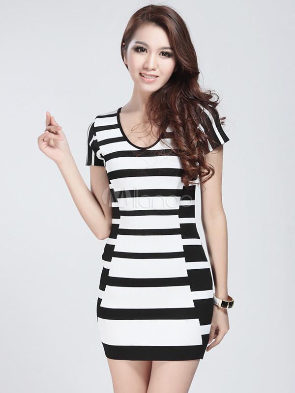 Black White Stripe Short Sleeves Rayon Woman's Party Dress