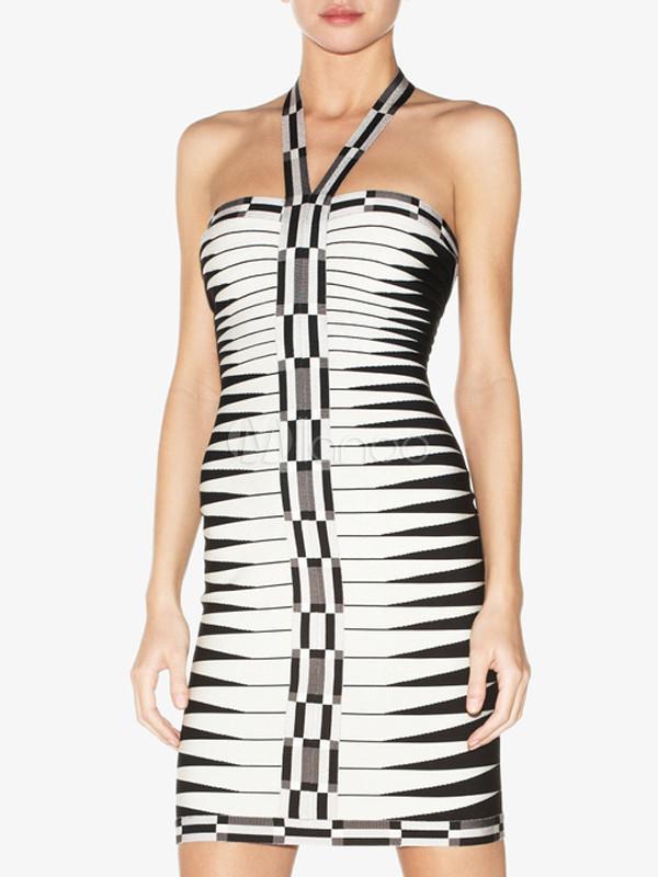 Black White Stripe Halter Rayon Woman's Party Dress