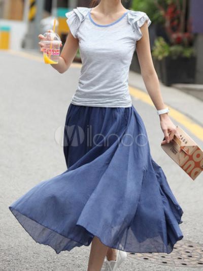 Navy Bohemian Cotton Blend Woman's Skirt