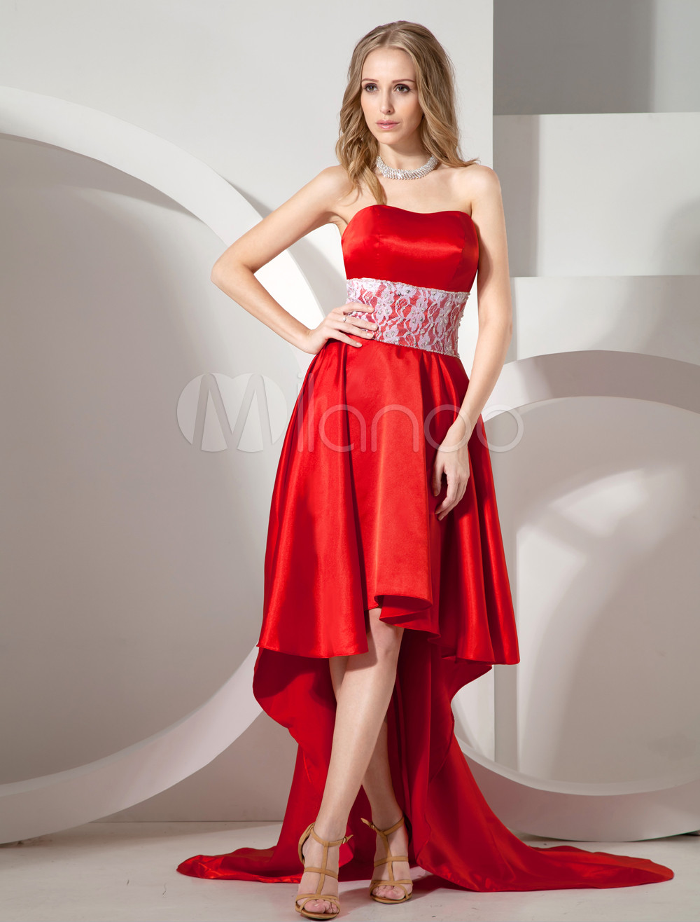 Red Lace & Satin Prom Dress (Wedding Cheap Party Dress) photo