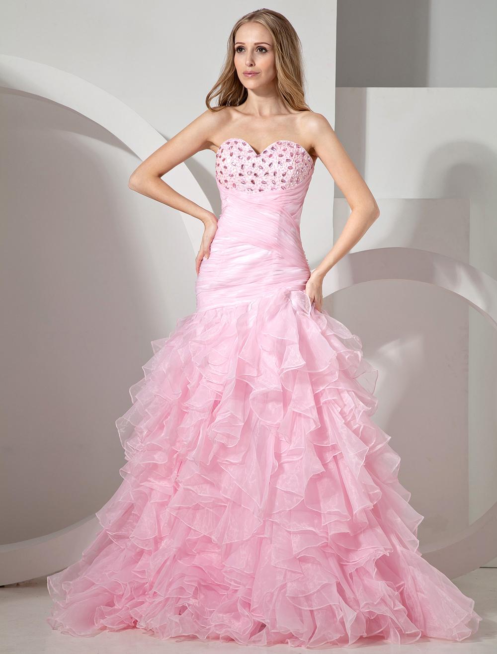 Pink Strapless Ruffles Organza Woman's Prom Dress (Wedding Prom Dresses) photo