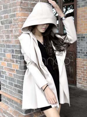schicker damen mantel aus acrylfaser mit kapuze und g rtel. Black Bedroom Furniture Sets. Home Design Ideas