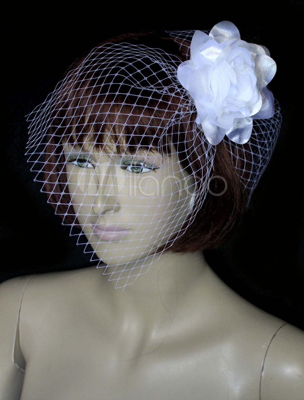 White Cut Edge Lotus Tulle Bridal Wedding Veil