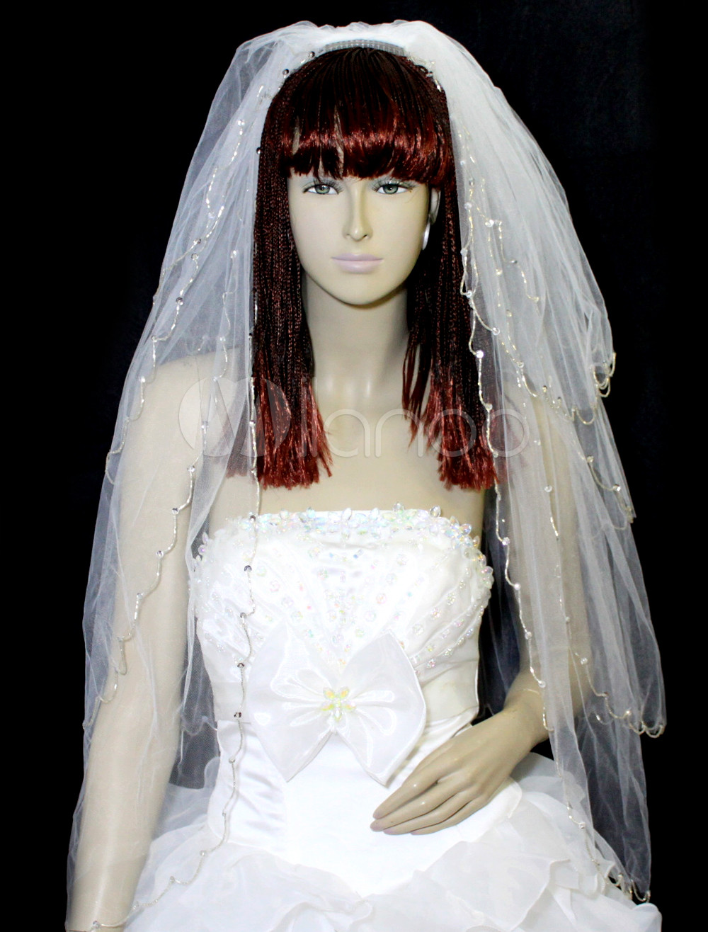 White Four-Tier Sequin Tulle Bridal Wedding Veil