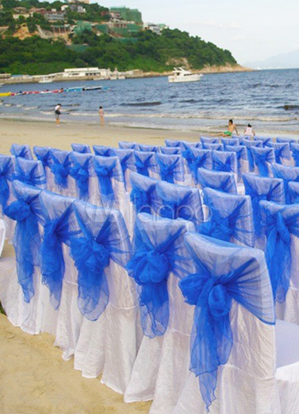 Blaue Semi Sheer Tll Hochzeit Stuhl Schrpe Set Von 12