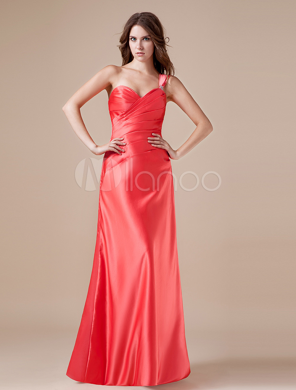 Amazing Sweetheart Red Satin One-shoulder Womens Bridesmaid Dress