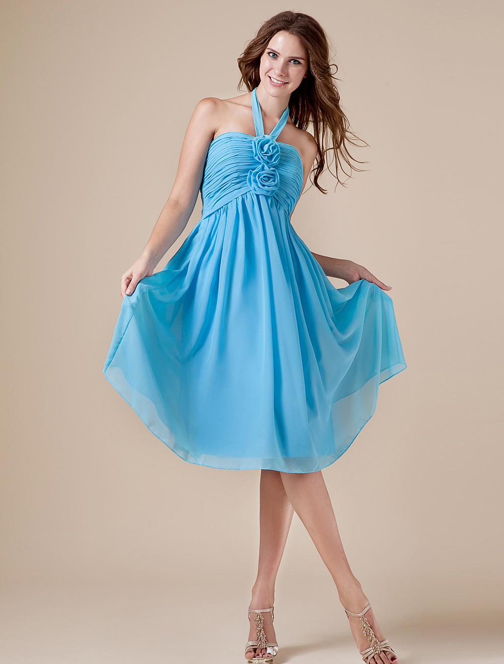Blue Halter Chiffon Knee Length Womens Bridesmaid Dress