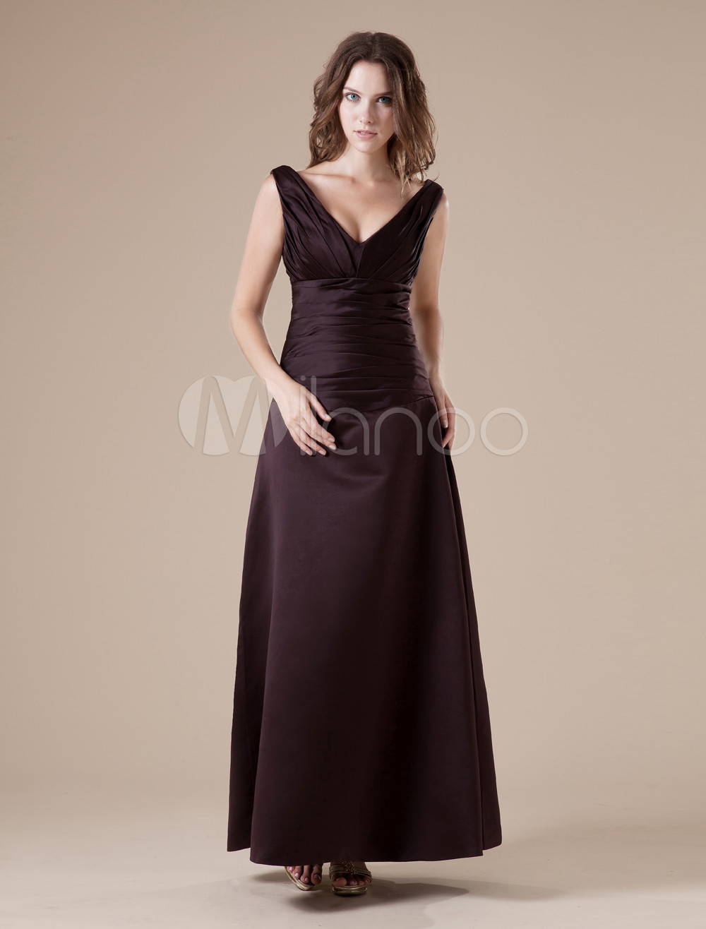 Chocolate V-neck Taffeta Floor Length Womens Bridesmaid Dress