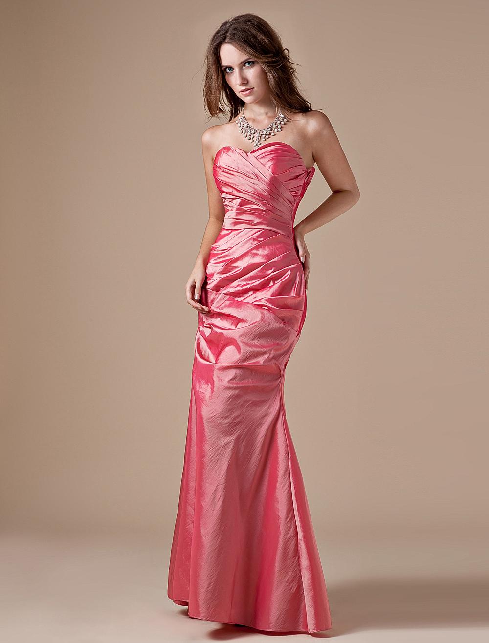 Sweetheart Bridesmaid Dress Pleated Taffeta Salmon Strapless Maxi Evening Dress