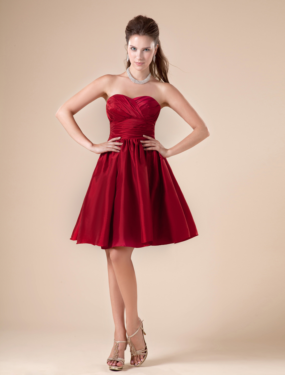 Claret Sweetheart Taffeta Knee Length Womens Bridesmaid Dress