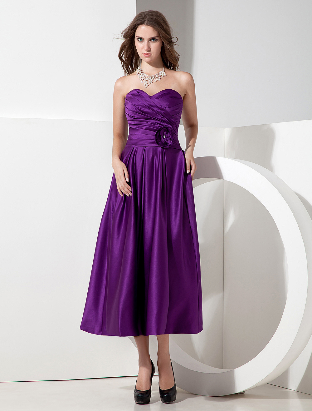 A-line Grape Satin Flower Sweetheart Neck Bridesmaid Dress