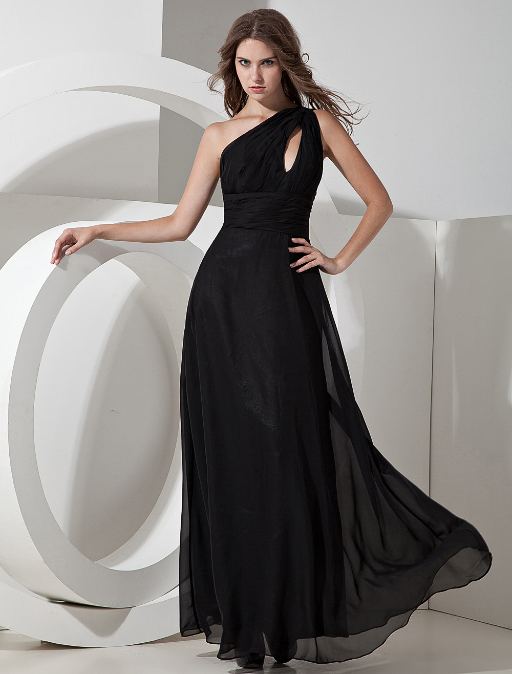 Unique Black Chiffon One Shoulder Floor Length Bridesmaid Dress