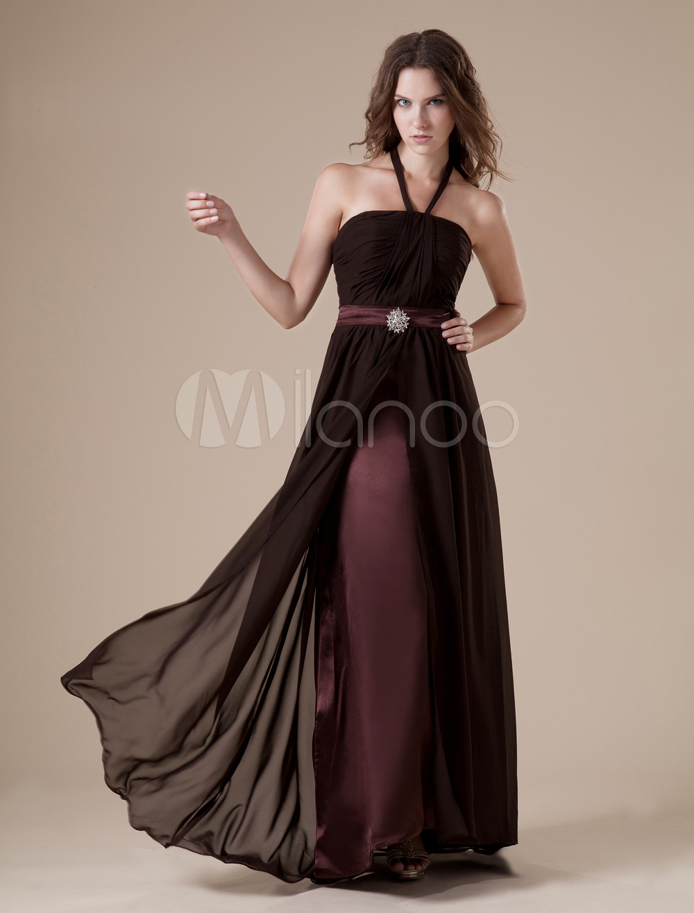 Chocolate Halter Satin Floor Length Womens Bridesmaid Dress