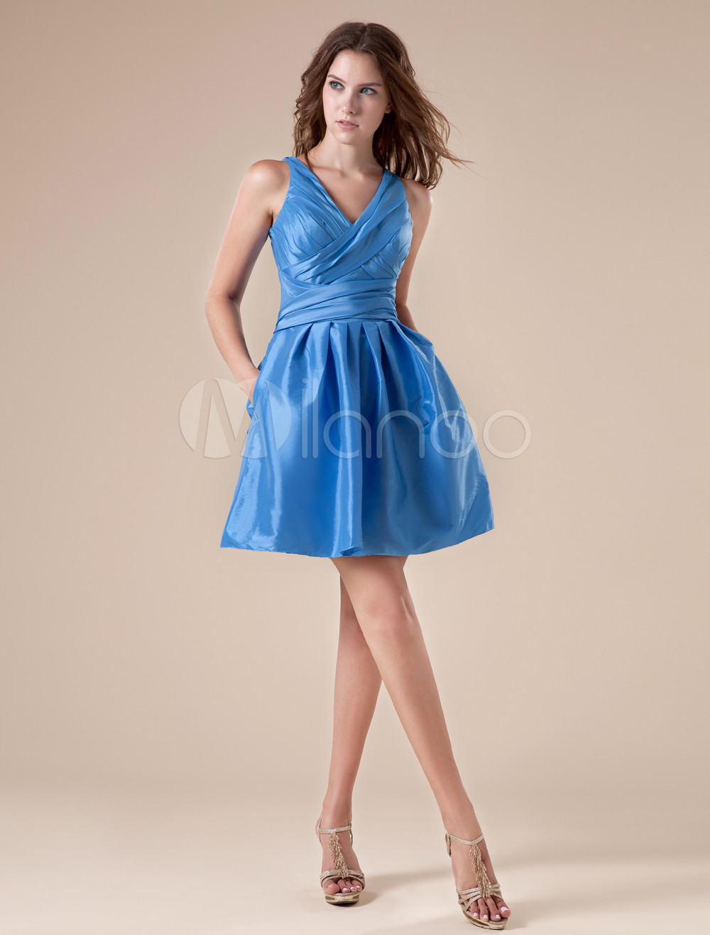 A-line V-Neck Pleated Blue Satin Bridesmaid Dress