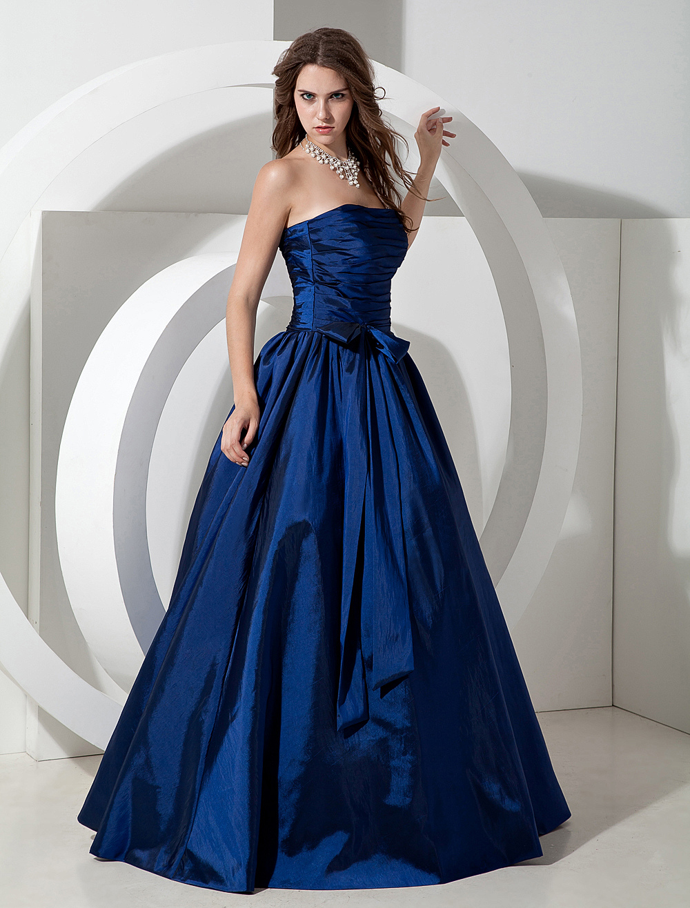 Pretty Royal Blue Taffeta Strapless Floor Length Bridesmaid Dress