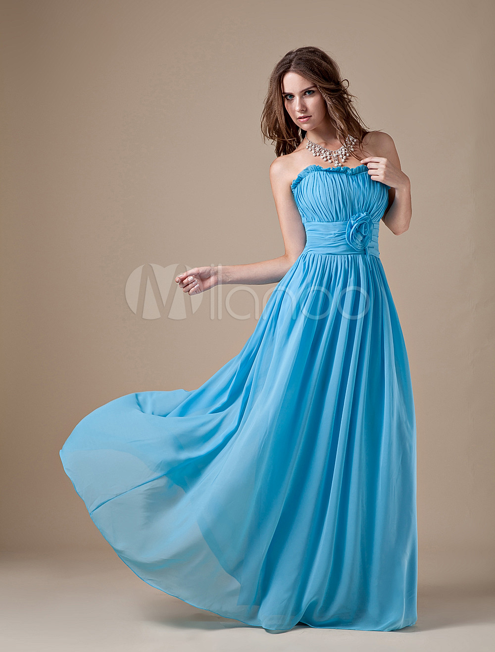 Sweet Caesious Chiffon A-line Strapless Bridesmaid Dress