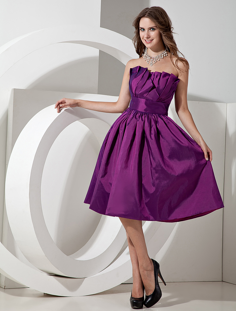 Lilac Taffeta Knee Length Strapless A-line Bridesmaid Dress