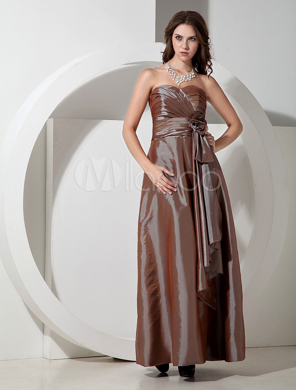 Elegant Brown Taffeta Sweetheart Bridesmaid Dress