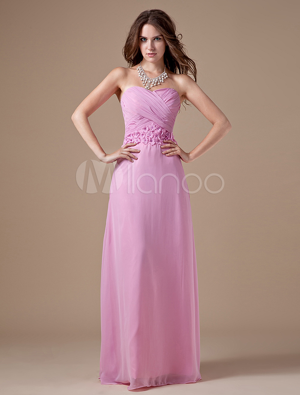 Pink Chiffon Beading Sweetheart Neck Wedding Bridesmaid Dress
