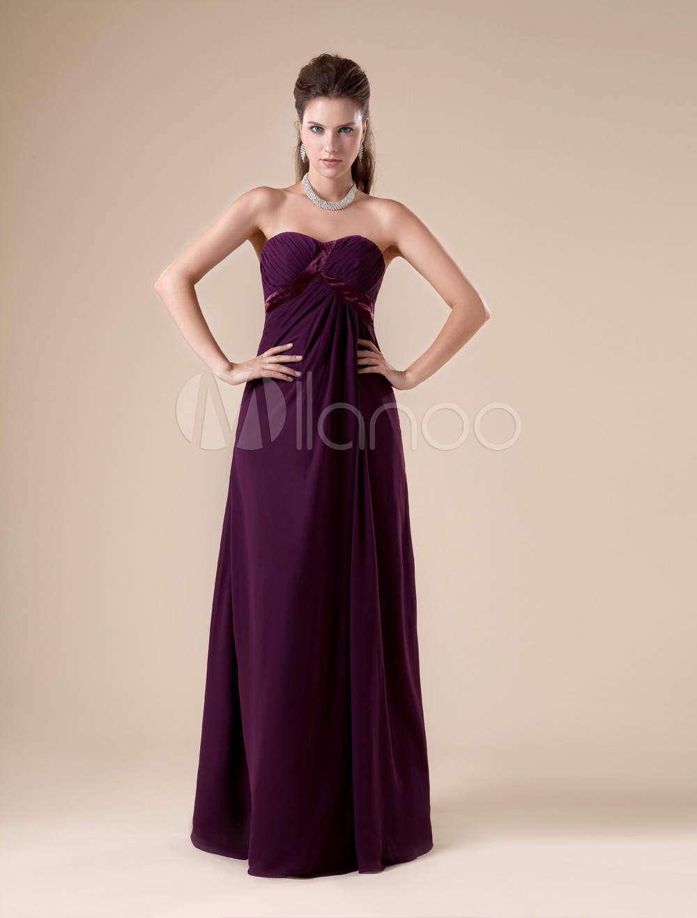 Claret A-line Strapless Chiffon Floor-length Womens Maternity Bridesmaid Dress