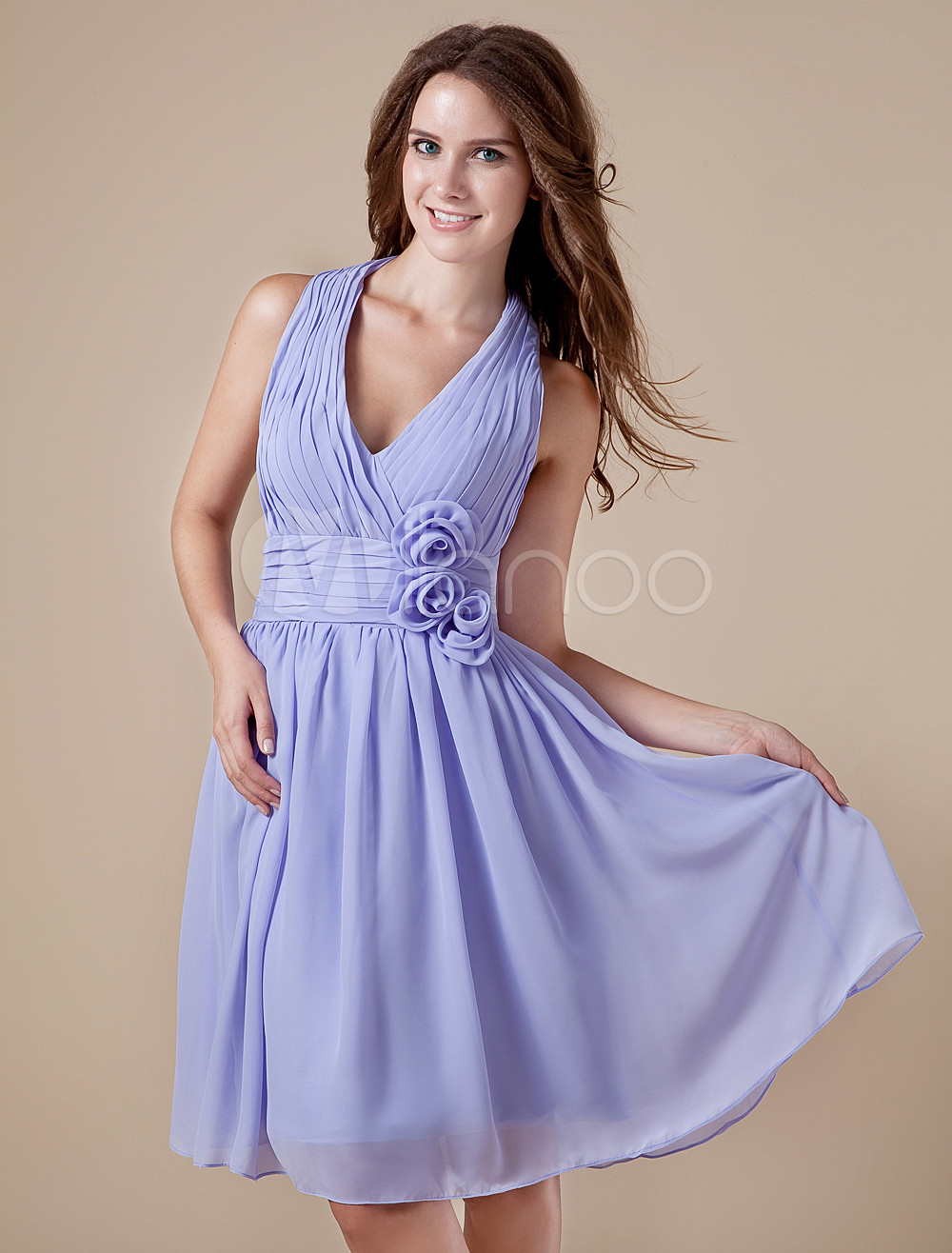 V-neck Chiffon Knee Length Womens Bridesmaid Dress