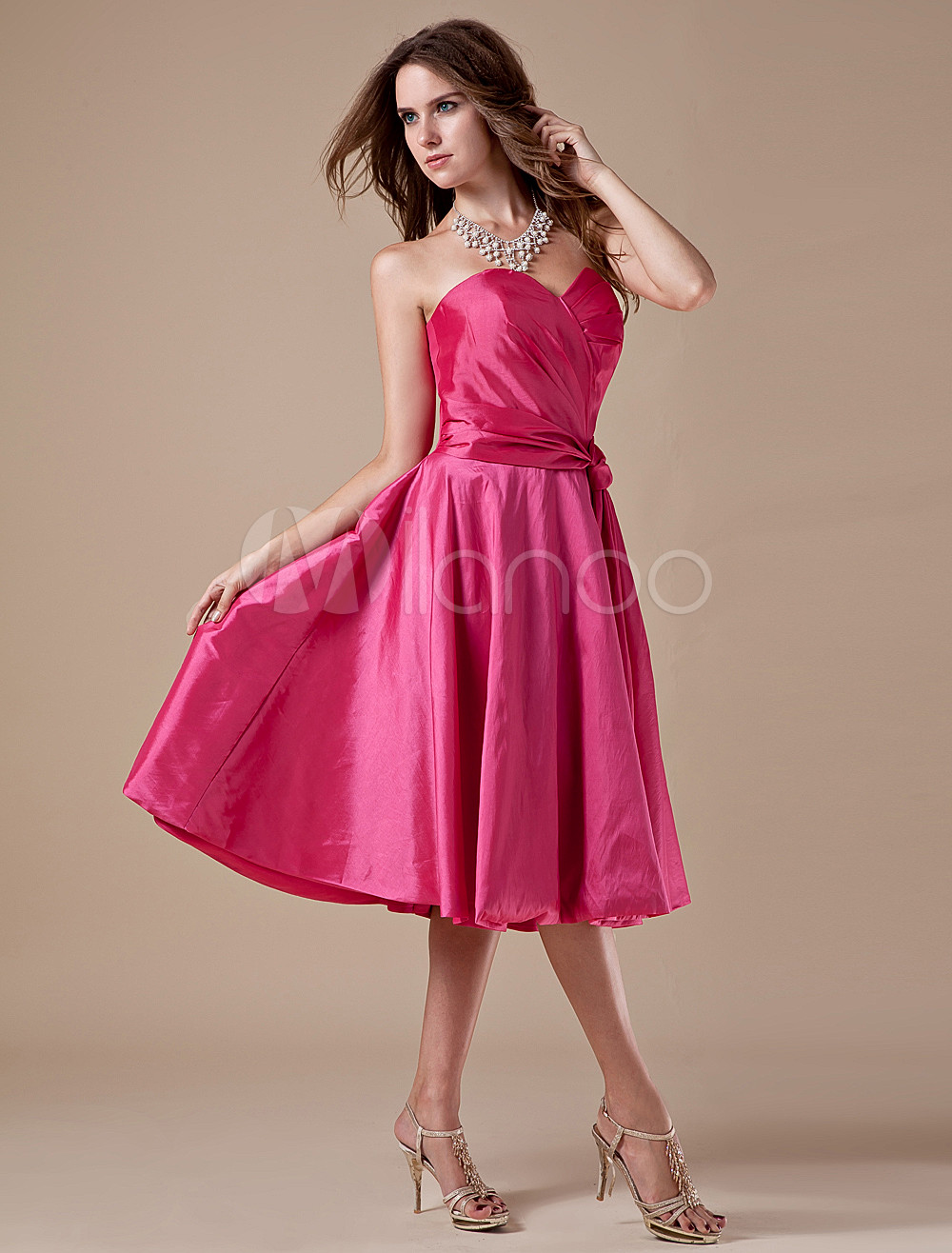Cute Fuchsia Taffeta Tea Length A-line Bridesmaid Dress