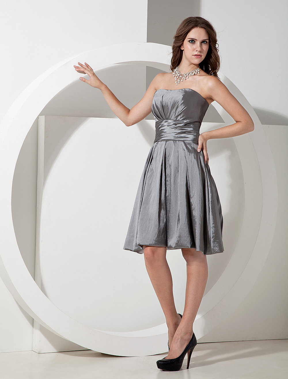 Cute Silvery Taffeta Knee Length A-line Bridesmaid Dress