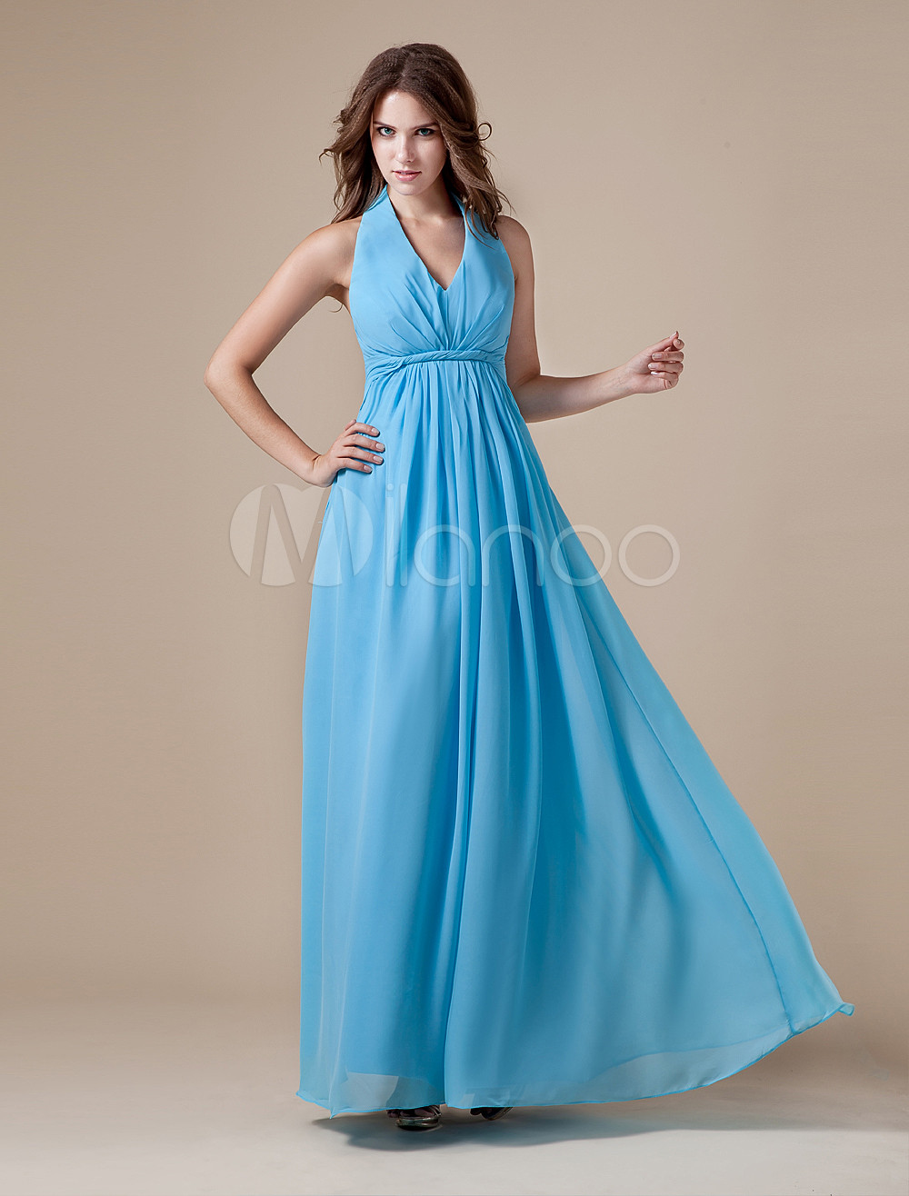 Beautiful Blue Chiffon Halter V-neck Bridesmaid Dress