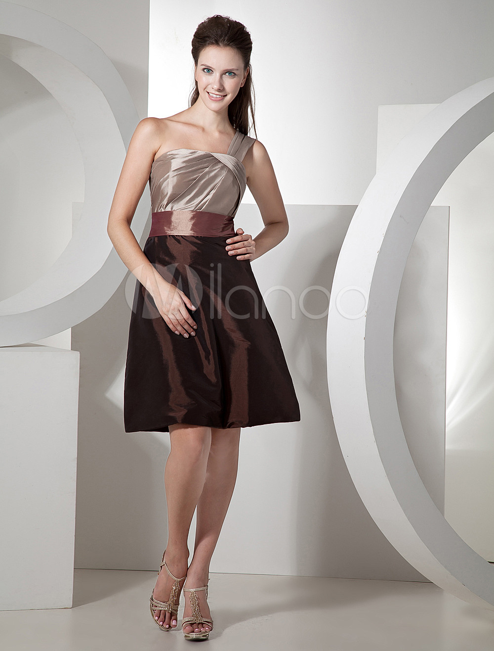 Chocolate One-shoulder Taffeta Knee Length Womens Bridesmaid Dress