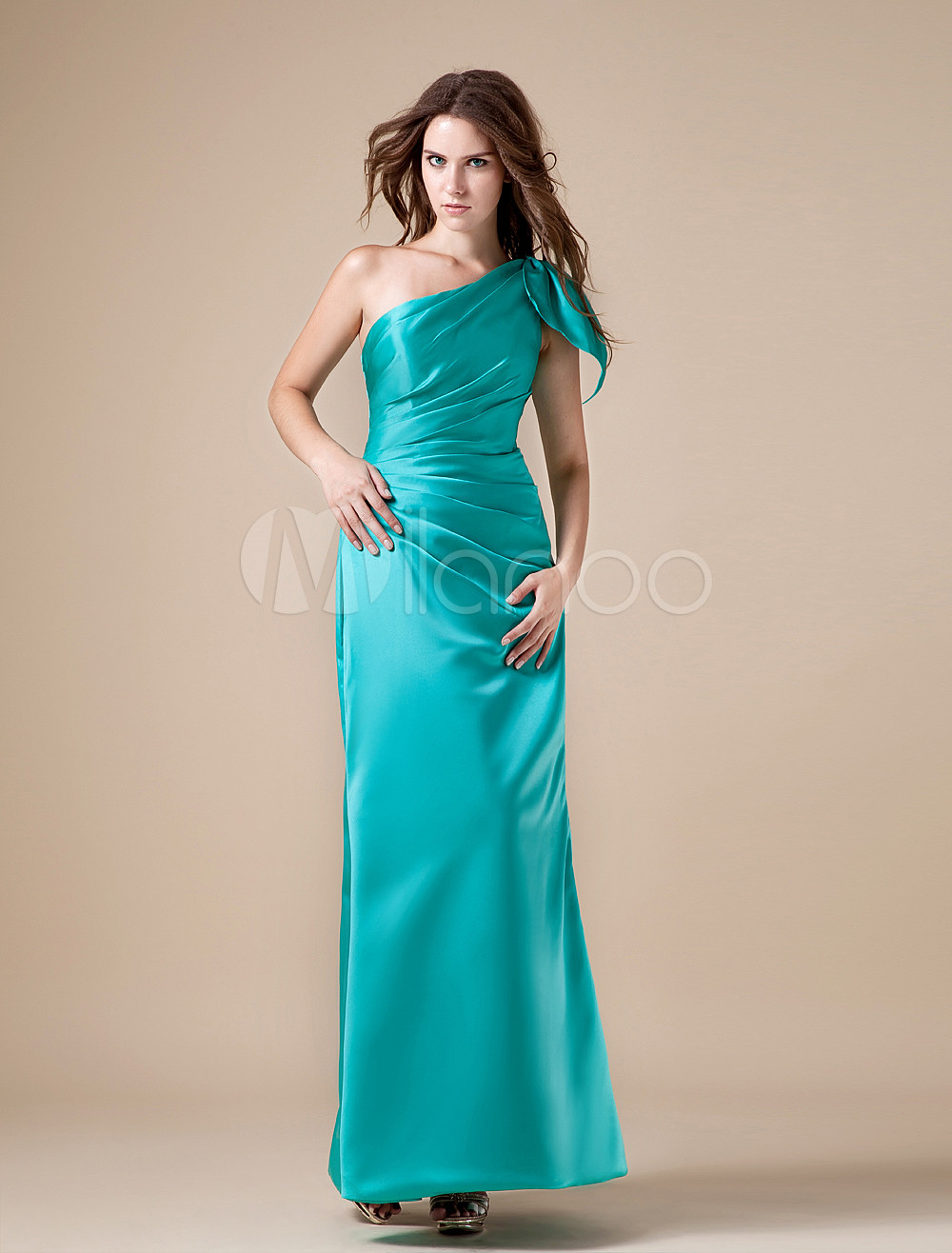 Sheath Bridesmaid Dress Turquoise One Shoulder Satin Bow Ruched Maxi Evening Dress