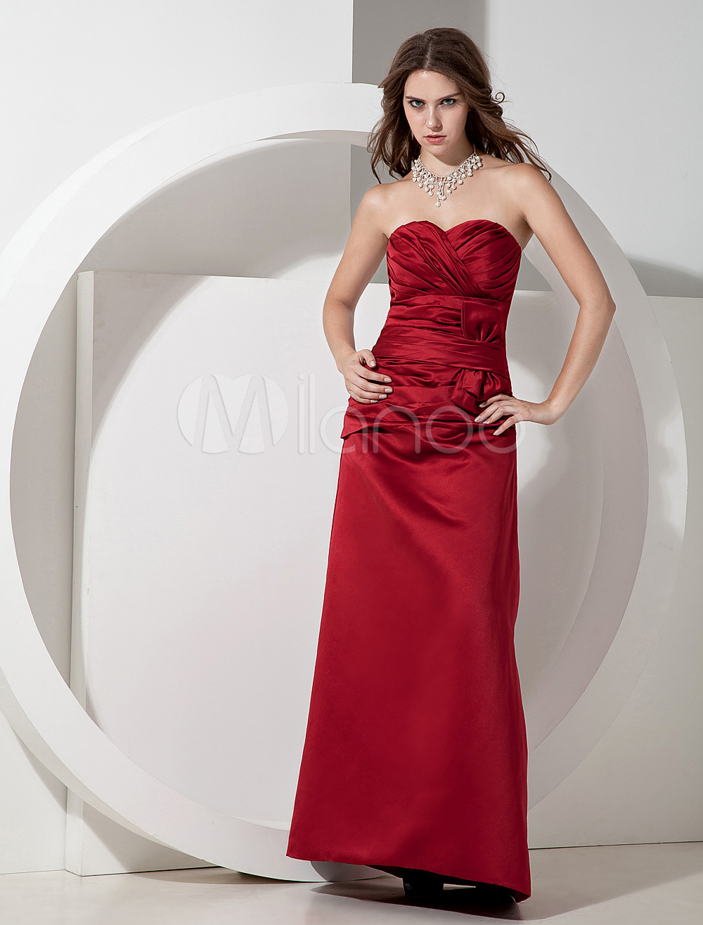 Strapless Pleated Satin Burgundy Pretty Bridesmaid Dress