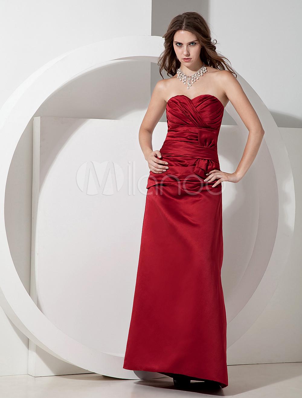 Strapless Pleated Satin Burgundy Pretty Bridesmaid Dress