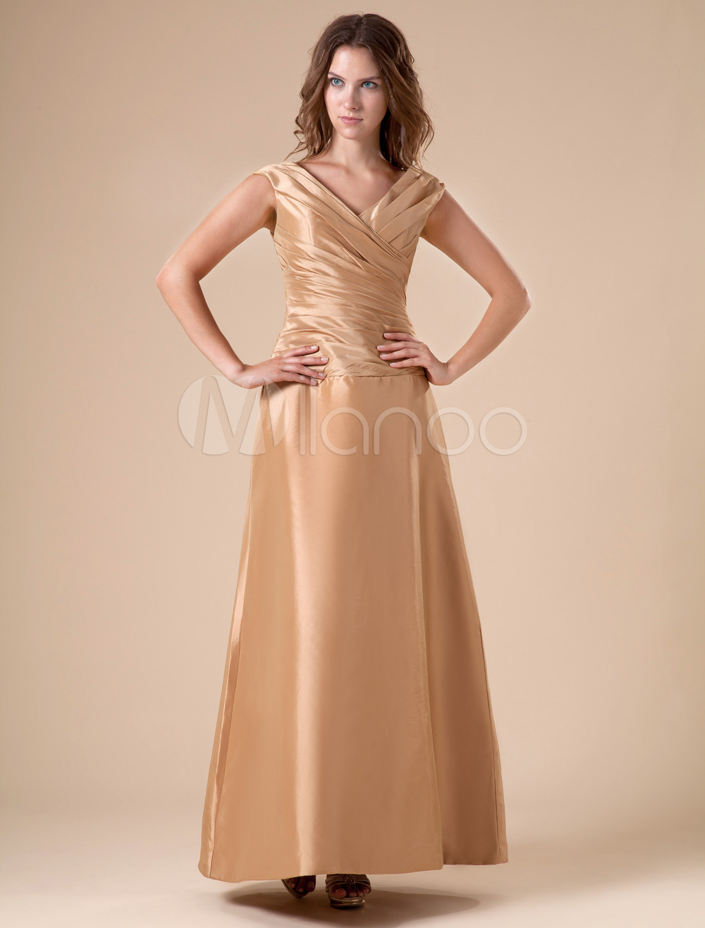 V-Neck Taffeta Brown Grace Bridesmaid Dress