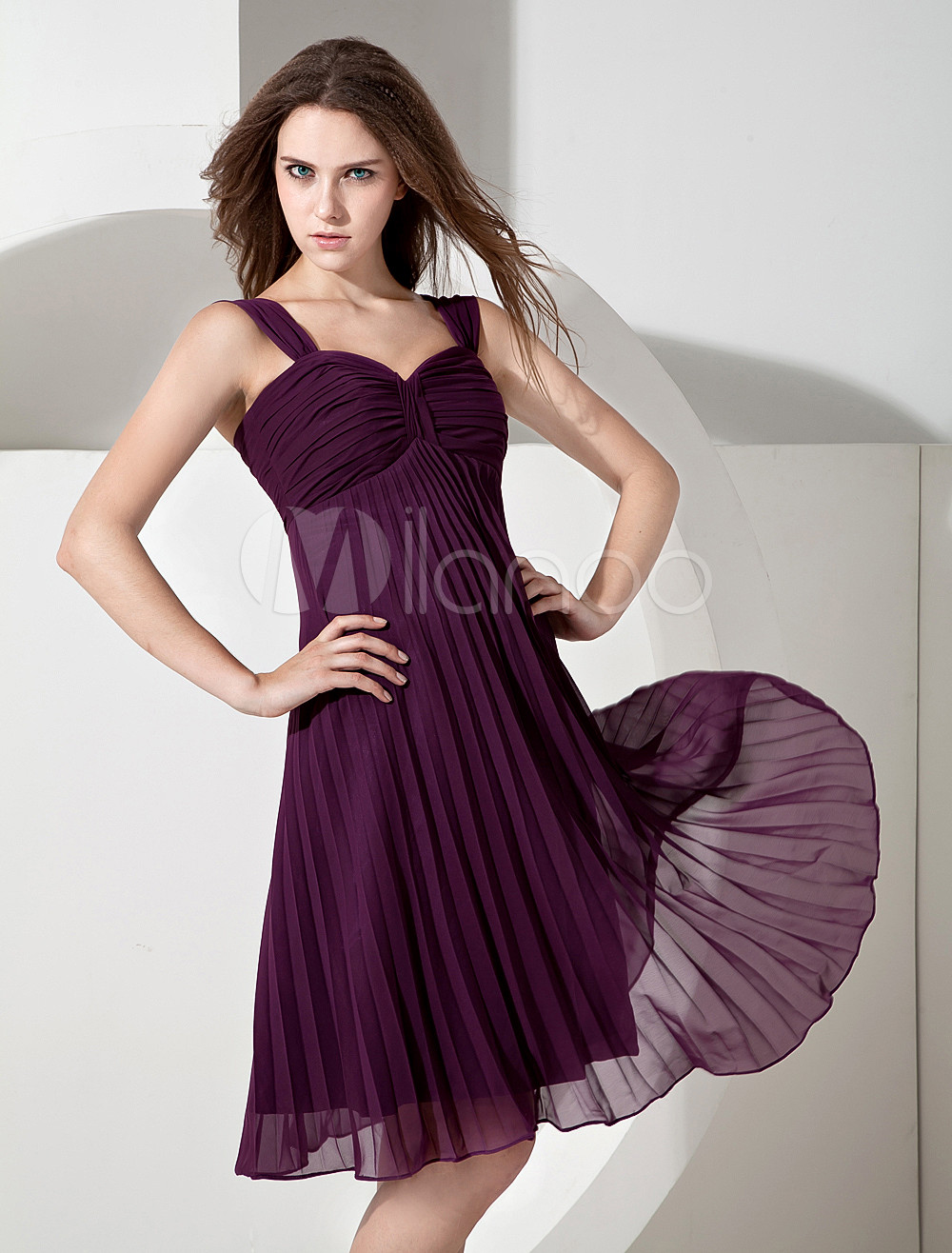 Grape Chiffon Sweetheart Knee Length A-line Bridesmaid Dress