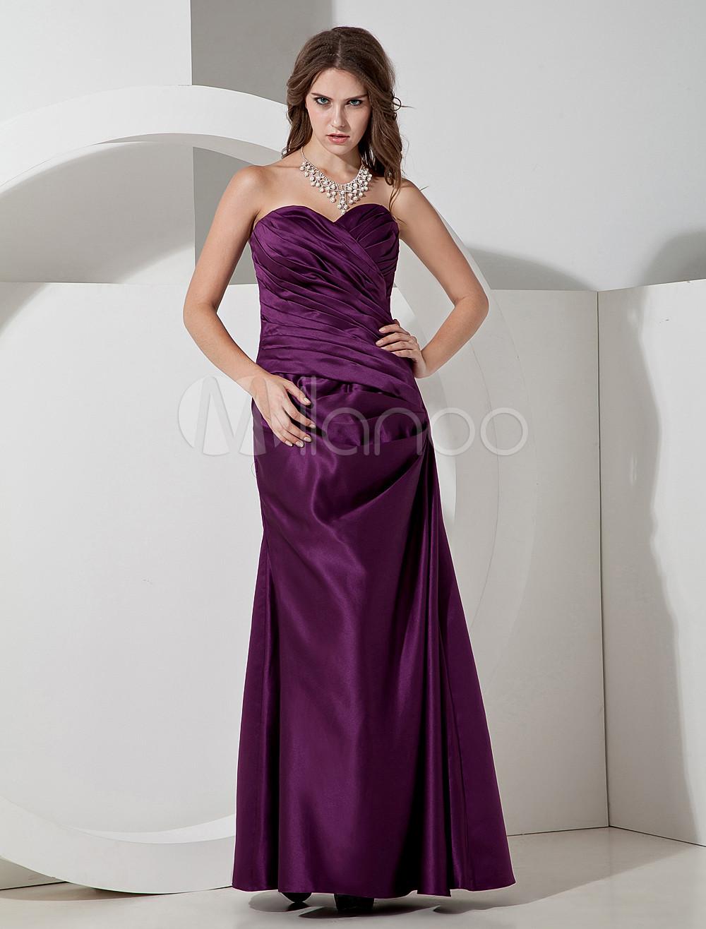 Elegant Grape Satin Sweetheart Floor Length Bridesmaid Dress