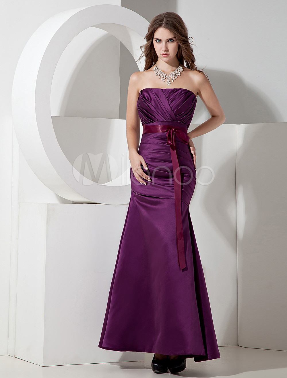 A-line Grape Satin Strapless Floor Length Bridesmaid Dress