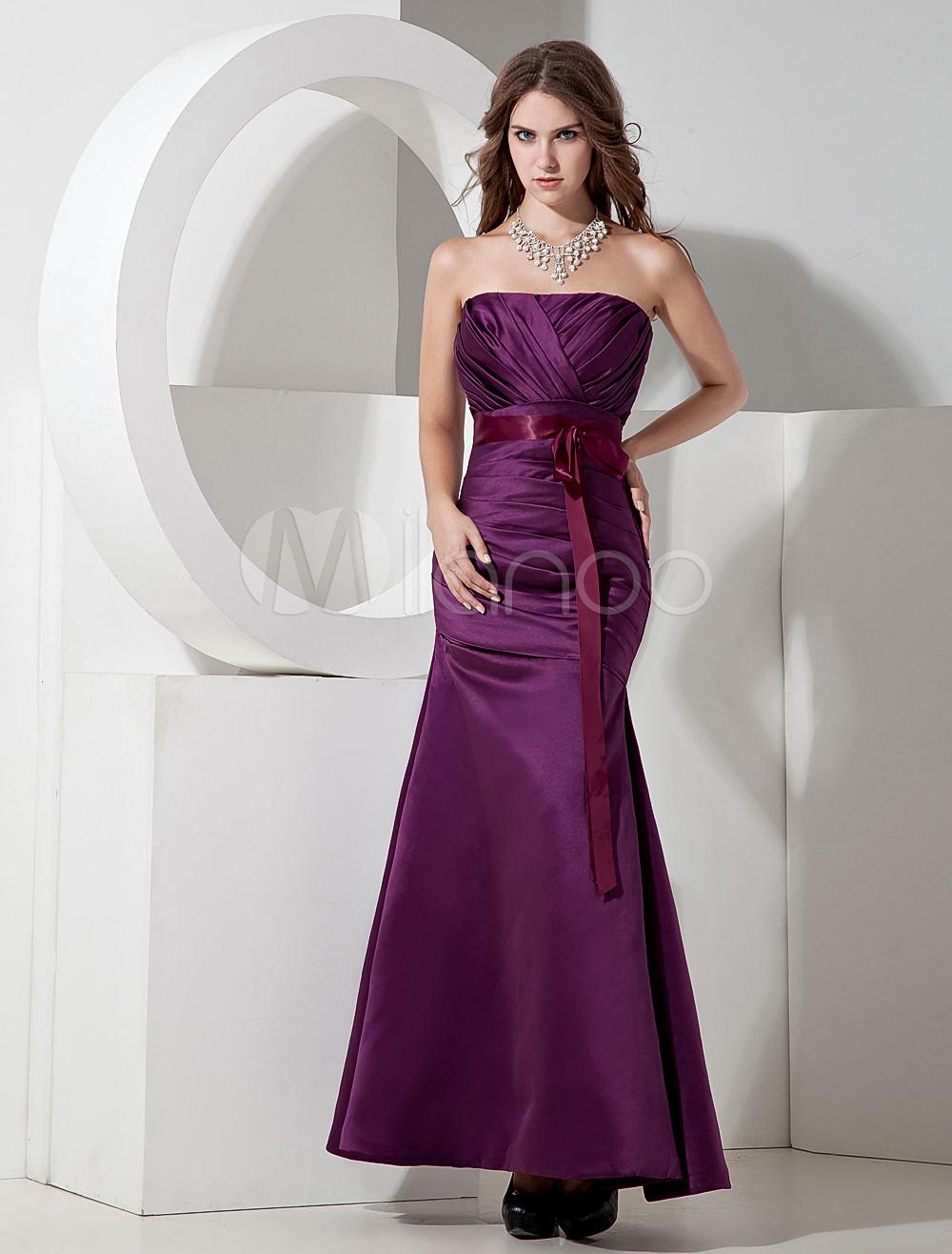A-line Grape Satin Strapless Floor Length Bridesmaid Dress