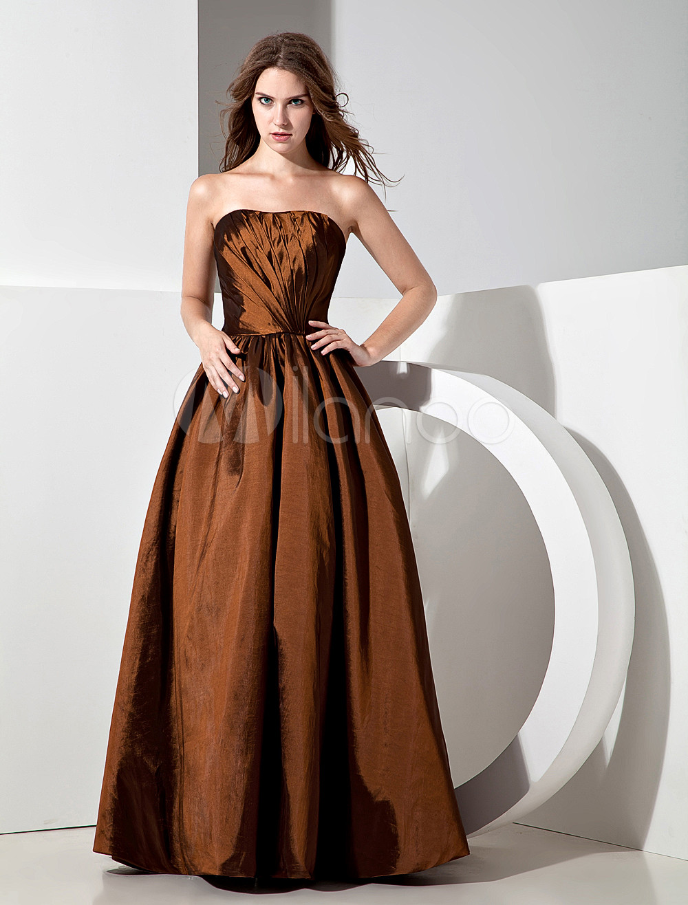 Vintage Chocolate Taffeta Strapless Floor Length Bridesmaid Dress