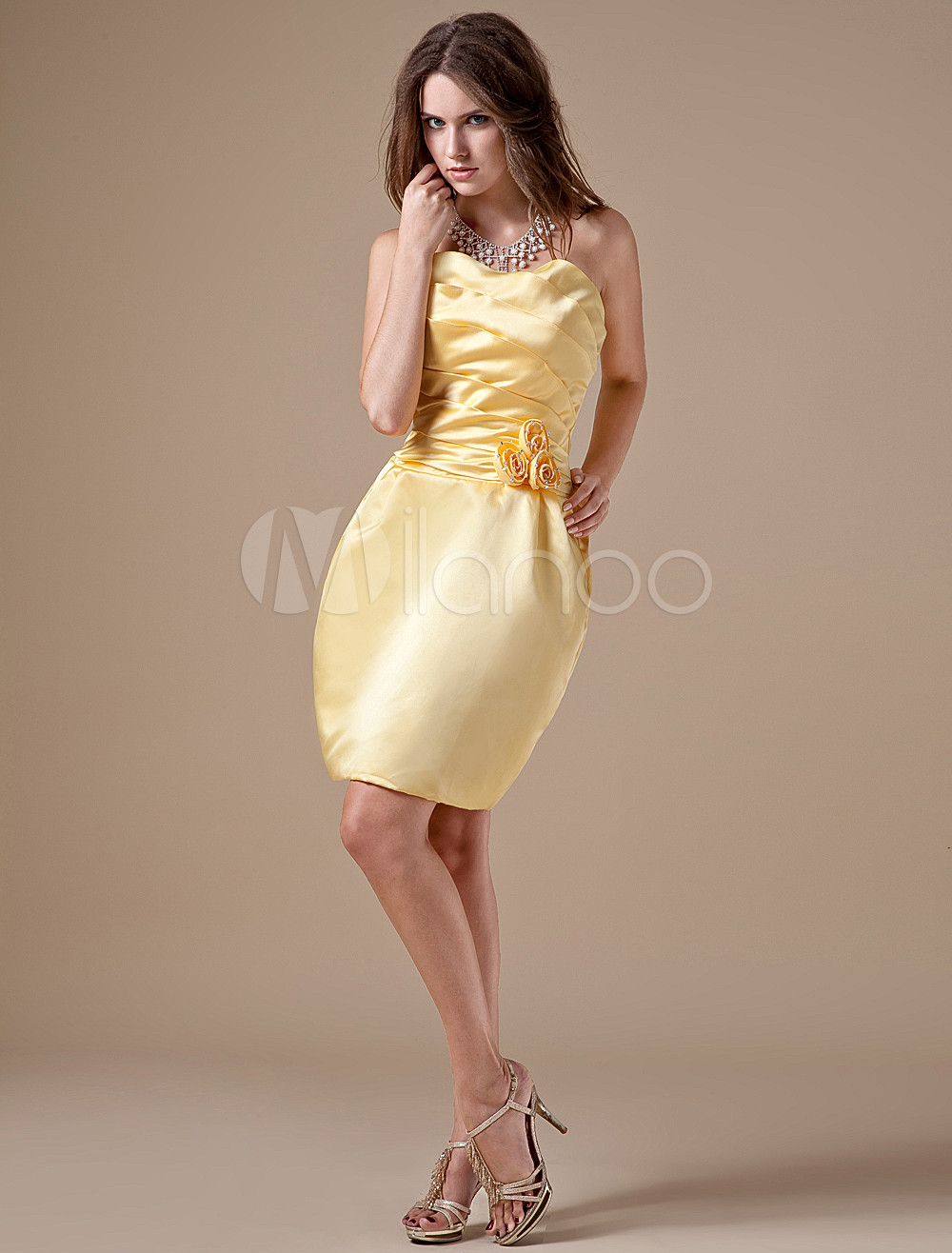 Daffodil Satin Strapless Womens Bridesmaid Dress