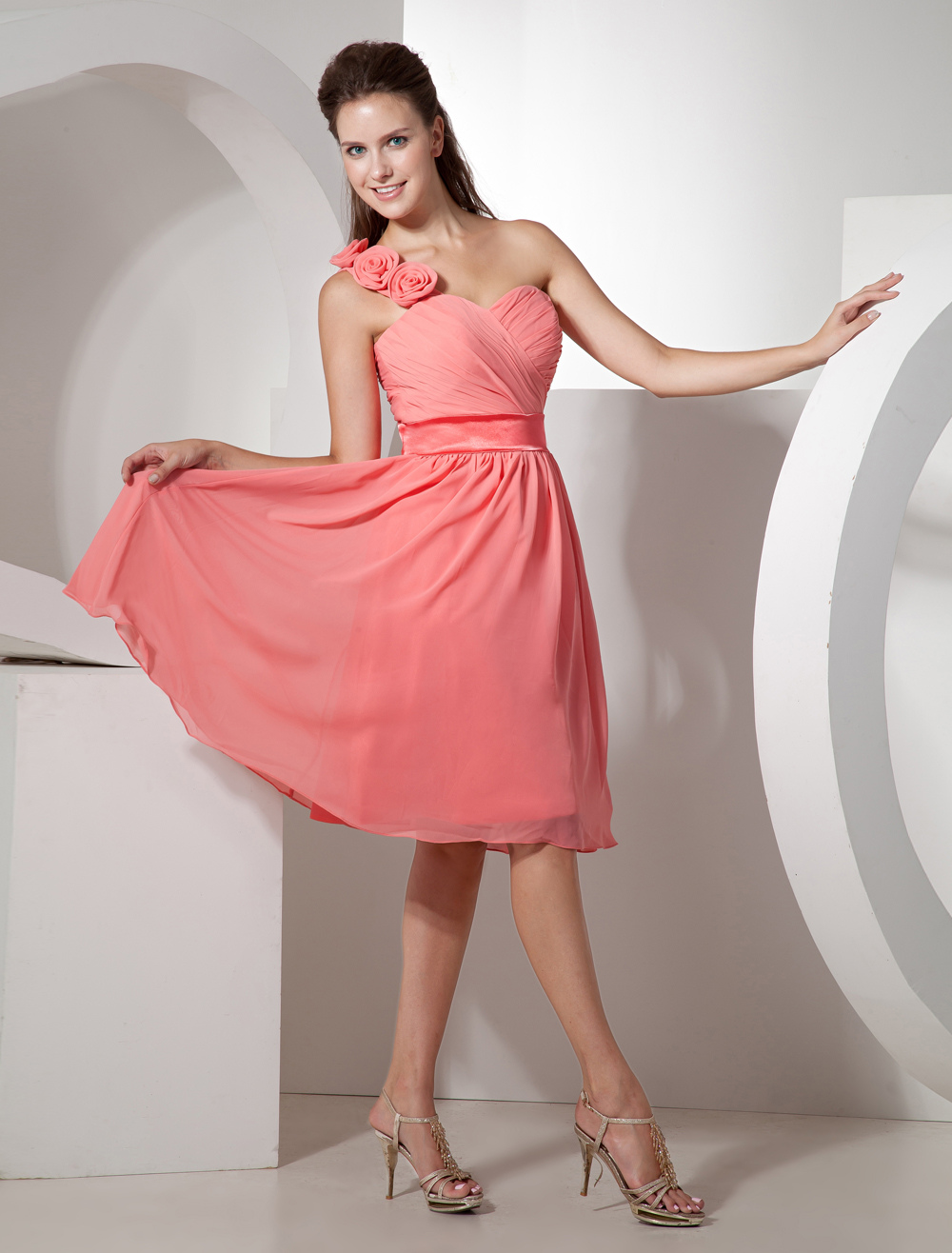 One-shoulder Floral Chiffon Knee Length Bridesmaid Dress With Flowers