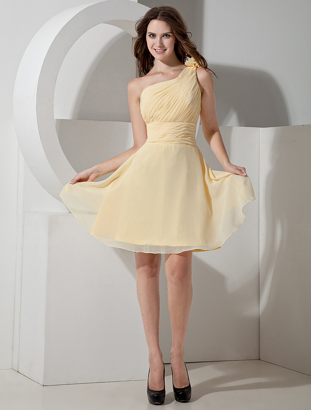 Wonderful Daffodil Chiffon One-shoulder Knee Length Womens Bridesmaid Dress